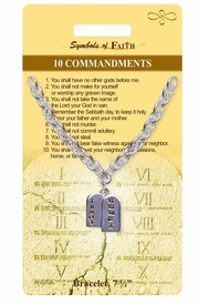 "<Br>                 LEAD & NICKEL FREE!!<Br>    RELIGIOUS SYMBOLS OF FAITH!!<Br>  W15370B - ""10 COMMANDMENTS""<Br>TABLET CHARM BRACELET WITH GIFT<Br> CARD & ENVELOPE AS LOW AS $5.47"
