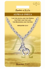 "<Br>             LEAD & NICKEL FREE!!<Br> RELIGIOUS SYMBOLS OF FAITH!!<Br>W15372B - ""ALPHA AND OMEGA""<Br>  AUSTRIAN CRYSTAL ACCENTED<Br>    BRACELET WITH GIFT CARD &<Br>     ENVELOPE AS LOW AS $6.47"