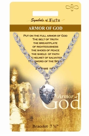 "<Br>                 LEAD & NICKEL FREE!!<Br>     RELIGIOUS SYMBOLS OF FAITH!!<Br>W15374B - ""ARMOR OF GOD"" SHIELD<Br>    AND CROSS BRACELET WITH GIFT<Br> CARD & ENVELOPE AS LOW AS $6.47"