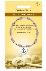 "<Br>                LEAD & NICKEL FREE!!<Br>    RELIGIOUS SYMBOLS OF FAITH!!<Br>      W15377B - ""FAITH HOPE LOVE""<Br>HEART CHARM BRACELET WITH GIFT<Br>CARD & ENVELOPE AS LOW AS $8.47"