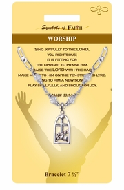 """<Br>             LEAD & NICKEL FREE!!<Br> RELIGIOUS SYMBOLS OF FAITH!!<Br> W15389B - """"WORSHIP"""" CHURCH<Br>WINDOW CHARM BRACELET WITH<BR>           GIFT CARD & ENVELOPE<Br>                  AS LOW AS $6.97"""