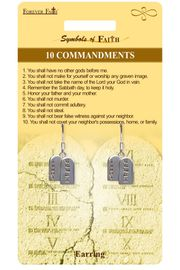 """<Br>              LEAD & NICKEL FREE!!<Br>  RELIGIOUS SYMBOLS OF FAITH!!<Br>W15417E - """"10 COMMANDMENTS""""<Br>TABLET EARRINGS WITH GIFT CARD<Br>     & ENVELOPE AS LOW AS $4.47"""
