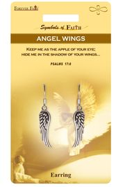 """<Br>            LEAD & NICKEL FREE!!<Br>RELIGIOUS SYMBOLS OF FAITH!!<Br>   W15419E - """"ANGEL'S WINGS""""<Br>    EARRINGS WITH GIFT CARD &<Br>     ENVELOPE AS LOW AS $4.47"""