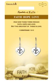 """<Br>              LEAD & NICKEL FREE!!<Br>  RELIGIOUS SYMBOLS OF FAITH!!<Br>   W15420E - """"FAITH HOPE LOVE""""<Br>HEART EARRINGS WITH GIFT CARD<Br>     & ENVELOPE AS LOW AS $4.47"""