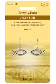 """<Br>            LEAD & NICKEL FREE!!<Br>RELIGIOUS SYMBOLS OF FAITH!!<Br>         W15423E - """"JESUS FISH""""<Br>    EARRINGS WITH GIFT CARD &<Br>      ENVELOPE AS LOW AS $4.47"""