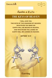"""<Br>           LEAD & NICKEL FREE!!<Br>RELIGIOUS SYMBOLS OF FAITH!!<Br> W15424E - """"KEYS OF HEAVEN""""<Br> MULTI CHARM EARRINGS WITH<Br>         GIFT CARD & ENVELOPE<Br>                AS LOW AS $4.47"""