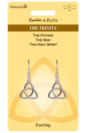 """<Br>                LEAD & NICKEL FREE!!<Br>    RELIGIOUS SYMBOLS OF FAITH!!<Br>            W15425E - """"THE TRINITY""""<Br>     TRIANGLE EARRINGS WITH GIFT<Br>CARD & ENVELOPE AS LOW AS $4.47"""