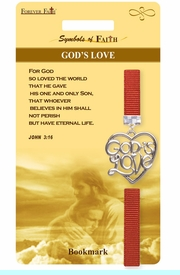 """<Br>               LEAD & NICKEL FREE!!<Br>    RELIGIOUS SYMBOLS OF FAITH!!<Br> W15525BM - """"GOD'S LOVE"""" HEART<Br>     CHARM BOOKMARK WITH GIFT<Br>CARD & ENVELOPE AS LOW AS $3.97"""