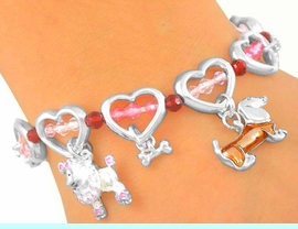 """<bR>        LEAD & NICKEL FREE!!<Br>S2806B - """"PUPPY DOG LOVE""""<Br>    HEART TOGGLE BRACELET<bR>       FROM $4.50 TO $10.00"""