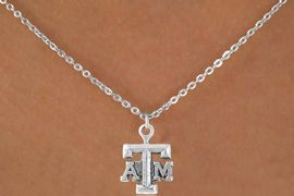 """<Br>             LEAD & NICKEL FREE!!<Br>       STERLING SILVER PLATED!!<bR>W12796N - LICENSED TEXAS A&M<Br>      UNIVERSITY """"AGGIES"""" LOGO<Br>      NECKLACE AS LOW AS $3.65"""