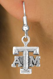 """<Br>            LEAD & NICKEL FREE!!<Br>       STERLING SILVER PLATED!!<bR>W12797E - LICENSED TEXAS A&M<Br>     UNIVERSITY """"AGGIES"""" LOGO<Br>      EARRINGS AS LOW AS $3.65"""