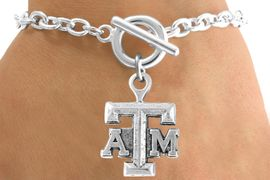 """<Br>            LEAD & NICKEL FREE!!<Br>       STERLING SILVER PLATED!!<bR>W12798B - LICENSED TEXAS A&M<Br>     UNIVERSITY """"AGGIES""""  LOGO<Br>      BRACELET AS LOW AS $3.65"""
