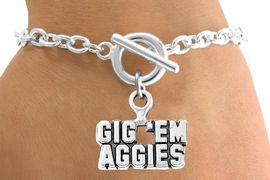 """<Br>           LEAD & NICKEL FREE!!<Br>     STERLING SILVER PLATED!!<bR>   W12801B - LICENSED TEXAS<Br>A&M """"GIG 'EM AGGIES"""" MOTTO<Br>    BRACELET AS LOW AS $3.65"""
