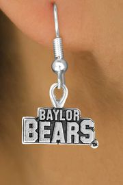 <Br>          LEAD & NICKEL FREE!!<Br>    STERLING SILVER PLATED!!<bR>W12833E - LICENSED BAYLOR<Br>UNIVERSITY BEARS EARRINGS<Br>               AS LOW AS $3.65