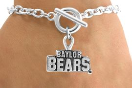 <Br>          LEAD & NICKEL FREE!!<Br>    STERLING SILVER PLATED!!<bR>W12834B - LICENSED BAYLOR<Br>UNIVERSITY BEARS BRACELET<Br>               AS LOW AS $3.65