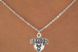 <Br>               LEAD & NICKEL FREE!!<Br>        STERLING SILVER PLATED!!<bR>    W12835N - LICENSED BAYLOR<Br>    UNIVERSITY BEARS MASCOT &<Br>LOGO NECKLACE AS LOW AS $3.65