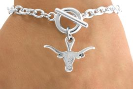 <Br>              LEAD & NICKEL FREE!!<Br>        STERLING SILVER PLATED!!<bR>W12840B - LICENSED UNIVERSITY<Br>  OF TEXAS LONGHORNS MASCOT<Br>      BRACELET AS LOW AS $5.90