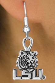 <Br>               LEAD & NICKEL FREE!!<Br>         STERLING SILVER PLATED!!<bR>   W12877E - LICENSED LOUISIANA<Br>STATE UNIVERSITY TIGERS MASCOT<Br>& LOGO EARRINGS AS LOW AS $3.65