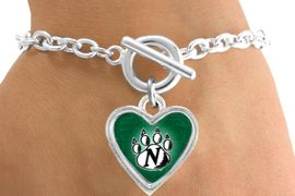 <Br>                LEAD & NICKEL FREE!!<Br>           STERLING SILVER PLATED!!<bR>  W12927B - LICENSED NORTHWEST<Br>MISSOURI STATE UNIVERSITY HEART<Br>              LOGO & PAW BRACELET<bR>                      AS LOW AS $3.65