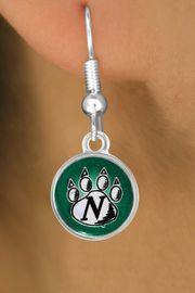 <Br>                LEAD & NICKEL FREE!!<Br>           STERLING SILVER PLATED!!<bR>  W12929E - LICENSED NORTHWEST<Br>MISSOURI STATE UNIVERSITY CIRCLE<Br>             LOGO & PAW EARRINGS<bR>                      AS LOW AS $3.65