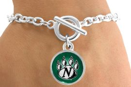<Br>               LEAD & NICKEL FREE!!<Br>          STERLING SILVER PLATED!!<bR>  W12930B - LICENSED NORTHWEST<Br>MISSOURI STATE UNIVERSITY CIRCLE<Br>             LOGO & PAW BRACELET<bR>                     AS LOW AS $3.65