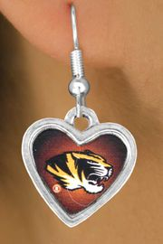 <Br>              LEAD & NICKEL FREE!!<Br>        STERLING SILVER PLATED!!<bR>W12953E - LICENSED UNIVERSITY<Br>   OF  MISSOURI TIGERS MASCOT<Br>      EARRINGS AS LOW AS $3.65