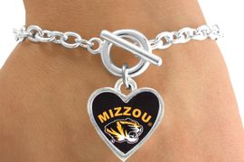 "<Br>                LEAD & NICKEL FREE!!<Br>          STERLING SILVER PLATED!!<bR>   W12954B - LICENSED UNIVERSITY<Br>     OF  MISSOURI TIGERS ""MIZZOU""<Br>MASCOT BRACELET AS LOW AS $3.65"