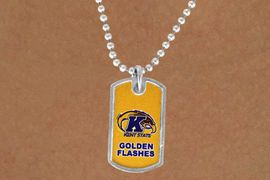 "<Br>            LEAD & NICKEL FREE!!<Br>       STERLING SILVER PLATED!!<bR>W13365N - LICENSED KENT STATE<Br> UNIVERSITY ""GOLDEN FLASHES""<Br>  DOG TAG WITH LOGO NECKLACE<bR>                  AS LOW AS $3.50"