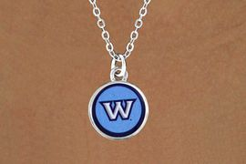 "<Br>             LEAD & NICKEL FREE!!<Br>        STERLING SILVER PLATED!!<bR>W13374N - LICENSED WASHBURN<Br> UNIVERSITY ""ICHABODS"" CIRCLE<Br>LOGO NECKLACE AS LOW AS $3.65"
