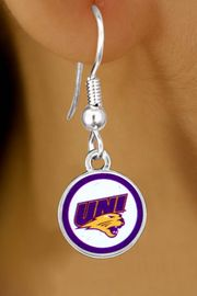 "<Br>             LEAD & NICKEL FREE!!<Br>        STERLING SILVER PLATED!!<bR>W13400E - LICENSED UNIVERSITY<Br> OF NORTHERN IOWA ""PANTHERS""<Br>LOGO EARRINGS AS LOW AS $3.65"