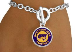 "<Br>             LEAD & NICKEL FREE!!<Br>        STERLING SILVER PLATED!!<bR>W13401B - LICENSED UNIVERSITY<Br>OF NORTHERN IOWA ""PANTHERS""<Br>LOGO BRACELET AS LOW AS $3.65"