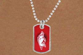 "<Br>             LEAD & NICKEL FREE!!<Br>       STERLING SILVER PLATED!!<bR>W13459N - LICENSED UNIVERSITY<Br>     OF ARKANAS ""RAZORBACKS""<br>    DOG TAG MASCOT NECKLACE<BR>             FROM $1.99"