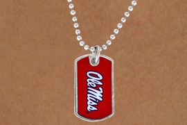 """<Br>             LEAD & NICKEL FREE!!<Br>       STERLING SILVER PLATED!!<bR>W13483N - LICENSED UNIVERSITY<BR>      OF MISSISSIPPI """"OLE MISS""""<br>       DOG TAG LOGO NECKLACE<br>                 AS LOW AS $3.50"""