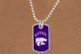 """<Br>           LEAD & NICKEL FREE!!<Br>     STERLING SILVER PLATED!!<bR> W13502N - LICENSED KANSAS<Br>STATE UNIVERSITY """"WILDCATS""""<br>   DOG TAG MASCOT NECKLACE<br>                 AS LOW AS $3.50"""