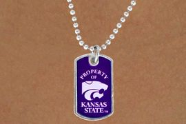 """<Br>           LEAD & NICKEL FREE!!<Br>     STERLING SILVER PLATED!!<bR> W13504N - LICENSED KANSAS<Br>STATE UNIVERSITY """"WILDCATS""""<br>   DOG TAG MASCOT NECKLACE<br>                 AS LOW AS $3.50"""