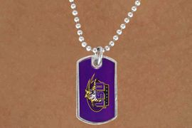<Br>             LEAD & NICKEL FREE!!<Br>        STERLING SILVER PLATED!!<bR> W13676N - LICENSED LOUISIANA<Br>STATE UNIVERSITY DOG TAG LOGO<bR>      NECKLACE AS LOW AS $3.50