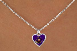 """<Br>                LEAD & NICKEL FREE!!<Br>           STERLING SILVER PLATED!!<bR>W13729N - LICENSED EAST CAROLINA<Br>     UNIVERSITY """"PIRATES"""" MASCOT<Br>  HEART NECKLACE AS LOW AS $3.65"""