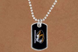 "<Br>                LEAD & NICKEL FREE!!<Br>           STERLING SILVER PLATED!!<bR>W13745N - LICENSED UNIVERSITY OF<Br>        MISSOURI ""TIGERS""  DOG TAG<bR>MASCOT NECKLACE AS LOW AS $3.50"