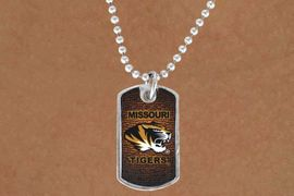 "<Br>                LEAD & NICKEL FREE!!<Br>           STERLING SILVER PLATED!!<bR>W13748N - LICENSED UNIVERSITY OF<Br>        MISSOURI ""TIGERS""  DOG TAG<bR>MASCOT NECKLACE AS LOW AS $3.50"