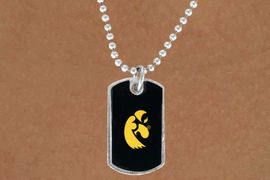 "<Br>             LEAD & NICKEL FREE!!<Br>       STERLING SILVER PLATED!!<bR>W13770N - LICENSED UNIVERSITY<Br> OF IOWA ""HAWKEYES""  DOG TAG<BR>LOGO NECKLACE AS LOW AS $3.50"