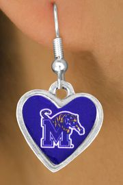 """<Br>               LEAD & NICKEL FREE!!<Br>         STERLING SILVER PLATED!!<bR> W13789E - LICENSED UNIVERSITY<Br>      OF MEMPHIS """"TIGERS"""" LOGO<Br>HEART EARRINGS AS LOW AS $3.65"""