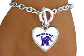 """<Br>               LEAD & NICKEL FREE!!<Br>         STERLING SILVER PLATED!!<bR> W13790B - LICENSED UNIVERSITY<Br>      OF MEMPHIS """"TIGERS"""" LOGO<BR>HEART BRACELET AS LOW AS $3.65"""