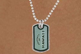 "<Br>             LEAD & NICKEL FREE!!<Br>       STERLING SILVER PLATED!!<bR>W13812N - LICENSED UNIVERSITY<Br>OF HAWAII ""WARRIORS"" DOG TAG<BR>LOGO NECKLACE AS LOW AS $3.50"