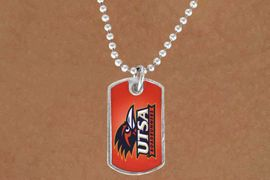 <Br>                LEAD & NICKEL FREE!!<Br>           STERLING SILVER PLATED!!<bR>W13815N - LICENSED UNIVERSITY OF<Br>TEXAS SAN ANTONIO ROADRUNNERS<BR>           DOG TAG LOGO NECKLACE<Br>                      AS LOW AS $3.50