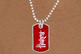 """<Br>                LEAD & NICKEL FREE!!<Br>          STERLING SILVER PLATED!!<bR>   W13817N - LICENSED UNIVERSITY<Br>OF NEBRASKA """"HUSKERS"""" DOG TAG<BR>  LOGO NECKLACE AS LOW AS $3.50"""
