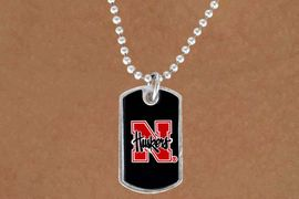 """<Br>                LEAD & NICKEL FREE!!<Br>          STERLING SILVER PLATED!!<bR>   W13818N - LICENSED UNIVERSITY<Br>OF NEBRASKA """"HUSKERS"""" DOG TAG<BR>  LOGO NECKLACE AS LOW AS $3.50"""