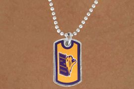 "<Br>             LEAD & NICKEL FREE!!<Br>       STERLING SILVER PLATED!!<bR>W13821N - LICENSED UNIVERSITY<Br>OF NORTHERN IOWA ""PANTHERS""<BR>        DOG TAG LOGO NECKLACE<Br>                   AS LOW AS $3.50"