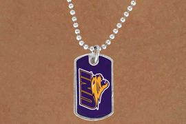 "<Br>             LEAD & NICKEL FREE!!<Br>       STERLING SILVER PLATED!!<bR>W13822N - LICENSED UNIVERSITY<Br>OF NORTHERN IOWA ""PANTHERS""<BR>        DOG TAG LOGO NECKLACE<Br>                   AS LOW AS $3.50"