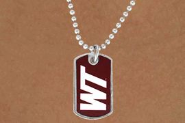"""<Br>                  LEAD & NICKEL FREE!!<Br>            STERLING SILVER PLATED!!<bR>    W13826N - LICENSED WEST TEXAS<Br> A&M UNIVERSITY """"BUFFALOES""""  DOG<BR>TAG LOGO NECKLACE AS LOW AS $3.50"""