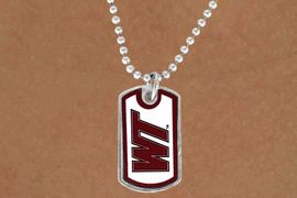 """<Br>                  LEAD & NICKEL FREE!!<Br>            STERLING SILVER PLATED!!<bR>    W13829N - LICENSED WEST TEXAS<Br> A&M UNIVERSITY """"BUFFALOES""""  DOG<BR>TAG LOGO NECKLACE AS LOW AS $3.50"""